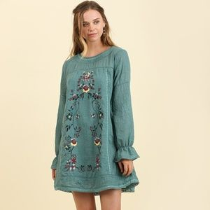 Umgee Forest Boho Floral Embroidered Flared Dress
